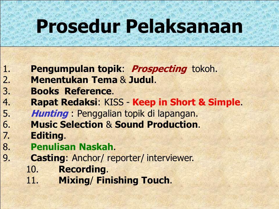 Prosedur Pelaksanaan 1. Pengumpulan topik: Prospecting tokoh.