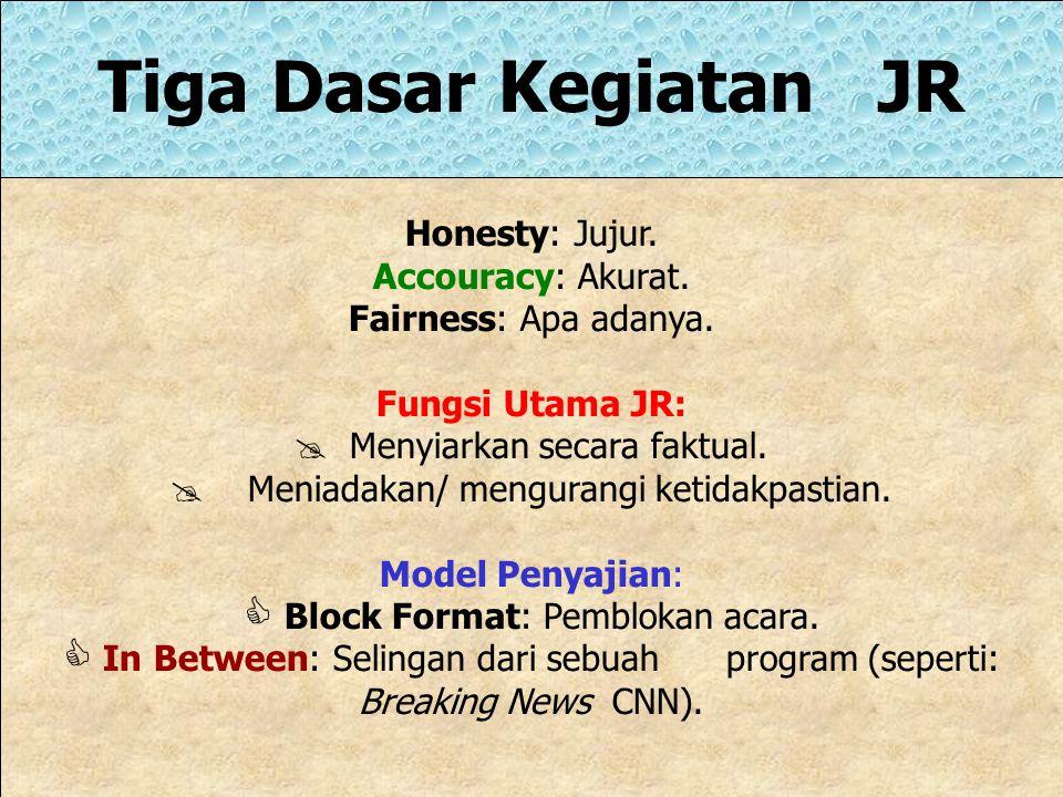 Tiga Dasar Kegiatan JR Honesty: Jujur. Accouracy: Akurat.