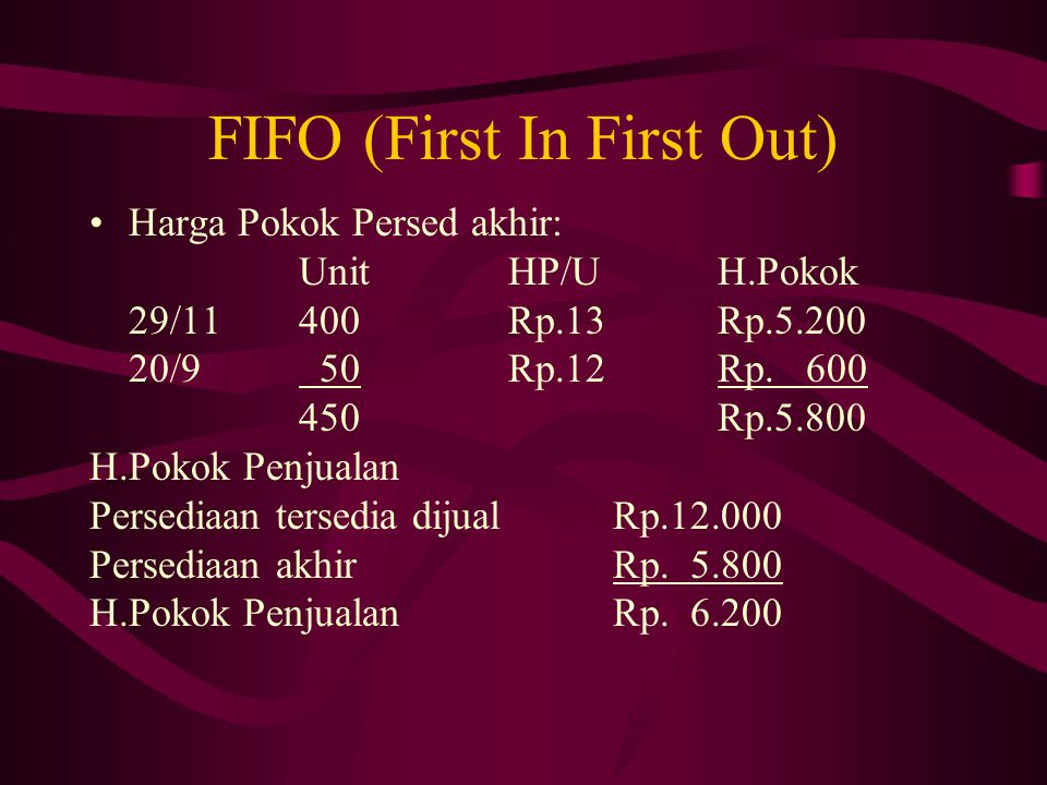 FIFO (First In First Out)