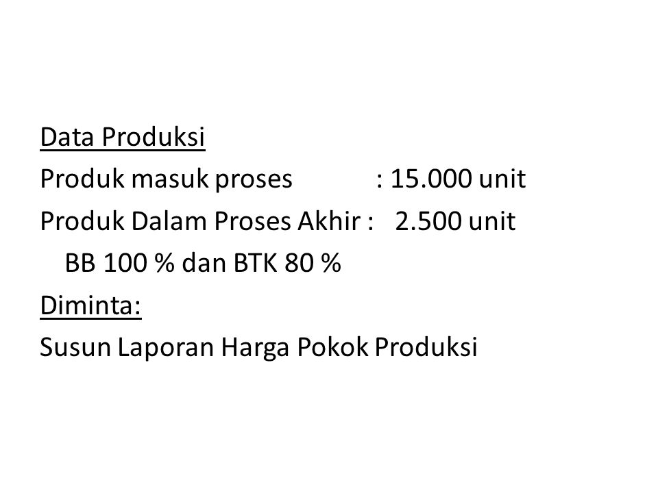 Data Produksi Produk masuk proses : 15