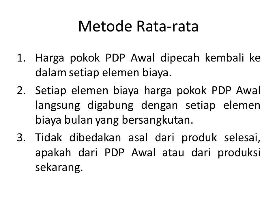 Metode Rata-rata Harga pokok PDP Awal dipecah kembali ke dalam setiap elemen biaya.