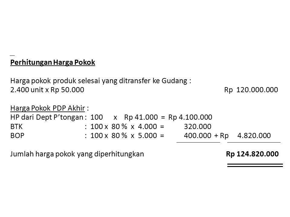 Perhitungan Harga Pokok Harga pokok produk selesai yang ditransfer ke Gudang : 2.400 unit x Rp 50.000 Rp 120.000.000 Harga Pokok PDP Akhir : HP dari Dept P'tongan : 100 x Rp 41.000 = Rp 4.100.000 BTK : 100 x 80 % x 4.000 = 320.000 BOP : 100 x 80 % x 5.000 = 400.000 + Rp 4.820.000 Jumlah harga pokok yang diperhitungkan Rp 124.820.000