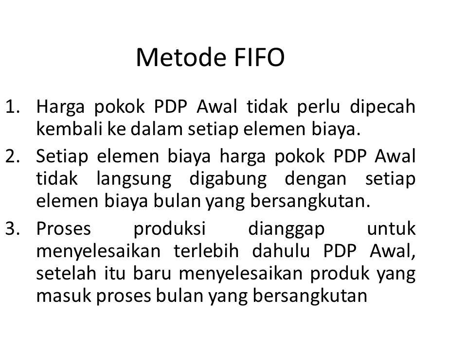 Metode FIFO Harga pokok PDP Awal tidak perlu dipecah kembali ke dalam setiap elemen biaya.