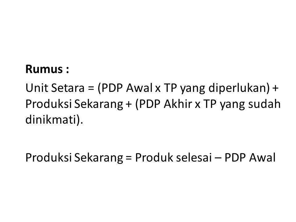 Produksi Sekarang = Produk selesai – PDP Awal