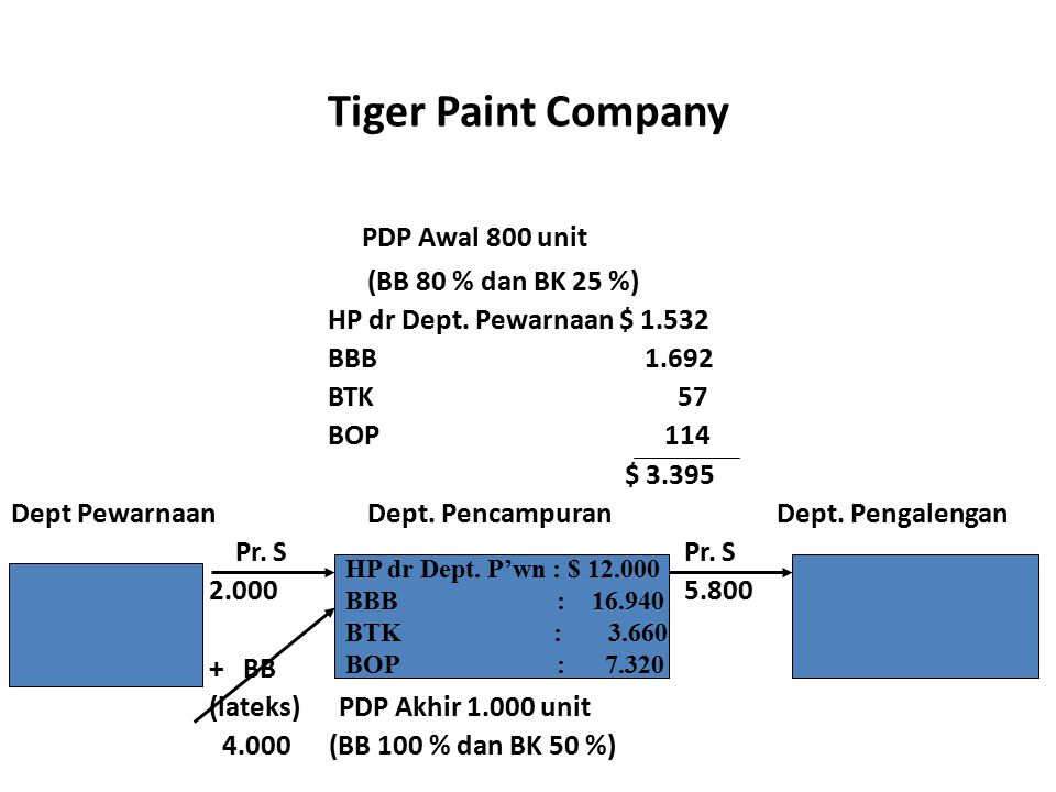 Tiger Paint Company PDP Awal 800 unit (BB 80 % dan BK 25 %)