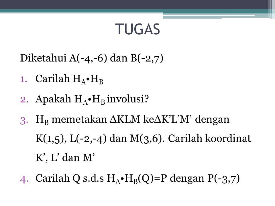 TUGAS Diketahui A(-4,-6) dan B(-2,7) Carilah HA•HB