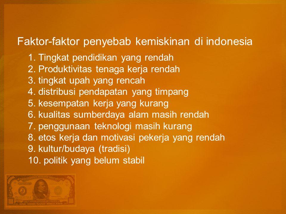 Faktor-faktor penyebab kemiskinan di indonesia