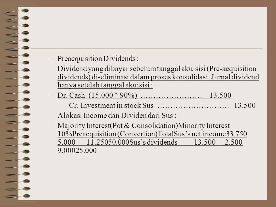 Preacquisition Dividends :