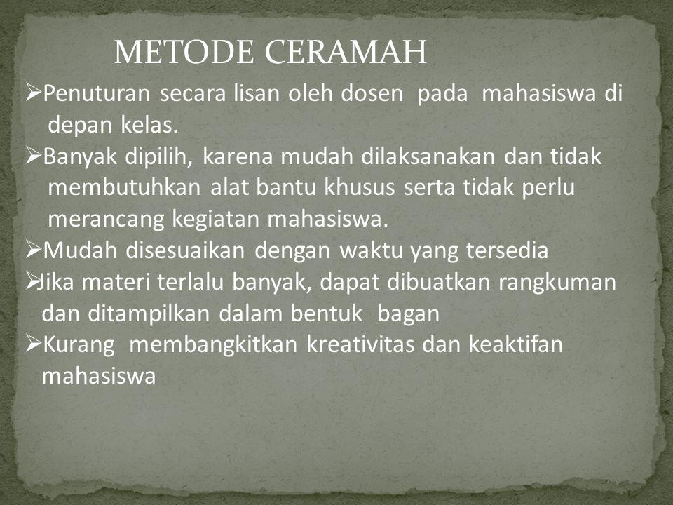 METODE CERAMAH Penuturan secara lisan oleh dosen pada mahasiswa di
