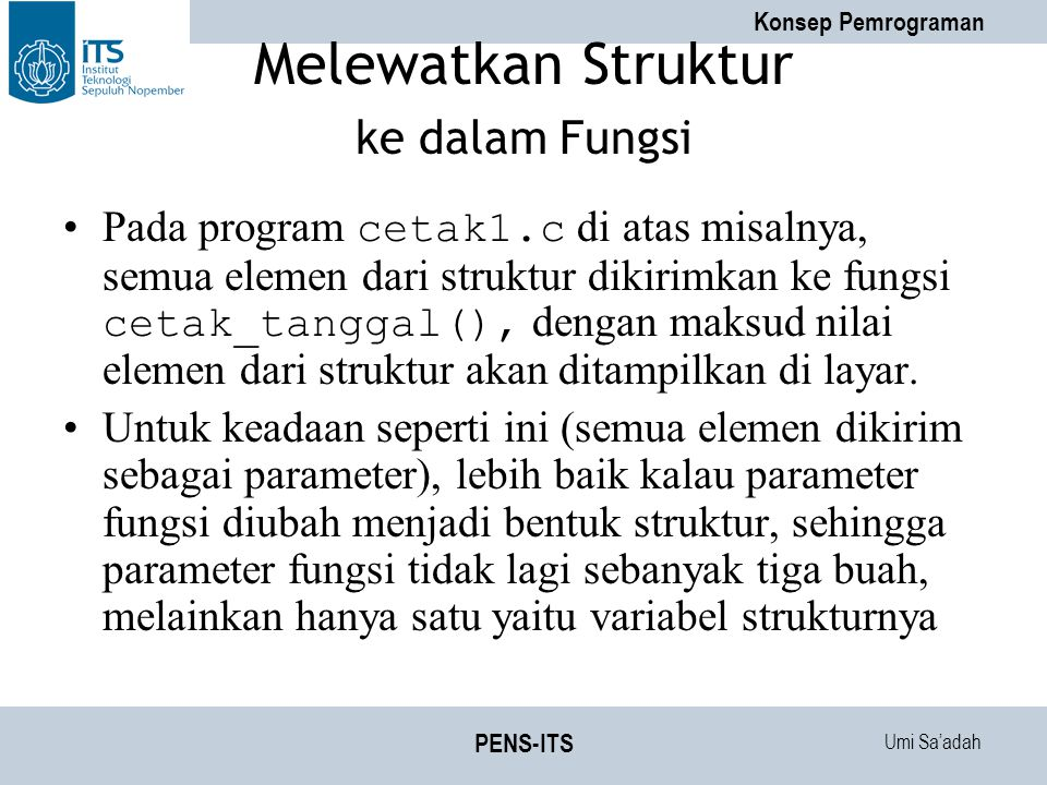 Melewatkan Struktur ke dalam Fungsi