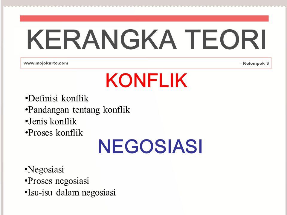 KERANGKA TEORI KONFLIK NEGOSIASI Definisi konflik