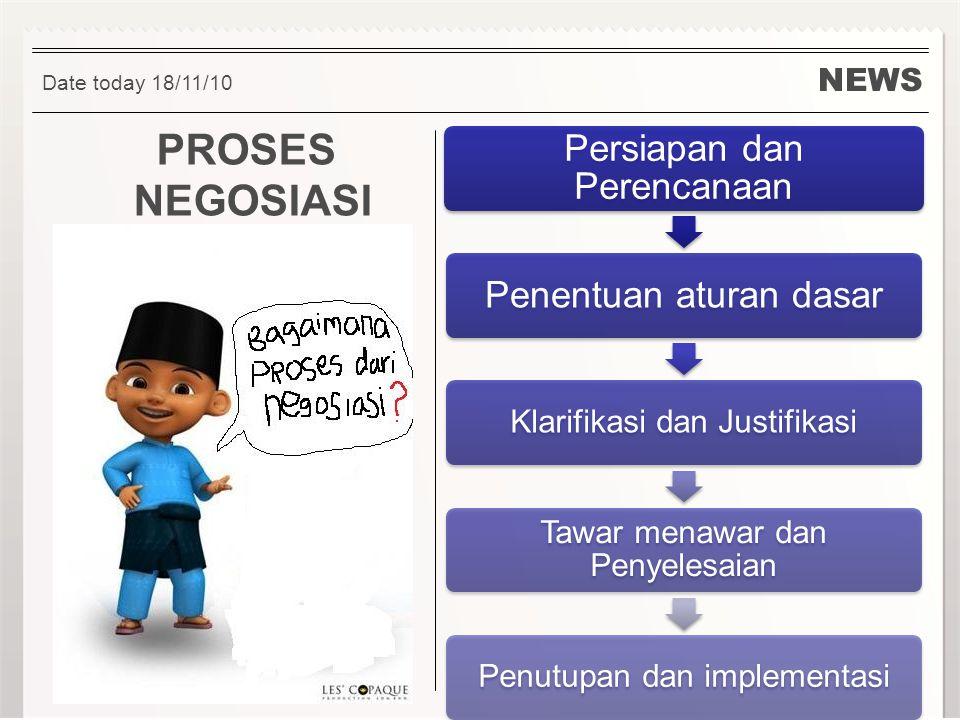 PROSES NEGOSIASI Persiapan dan Perencanaan Penentuan aturan dasar