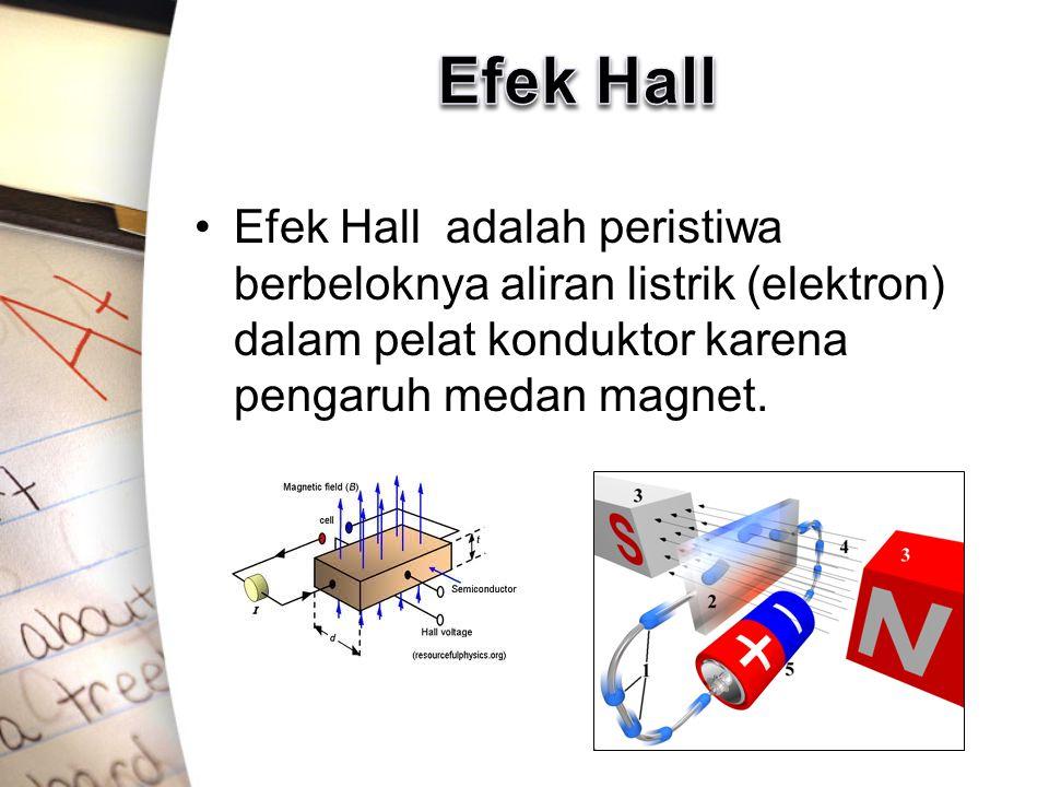 Efek Hall Efek Hall adalah peristiwa berbeloknya aliran listrik (elektron) dalam pelat konduktor karena pengaruh medan magnet.