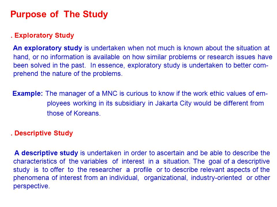 Purpose of The Study . Exploratory Study.