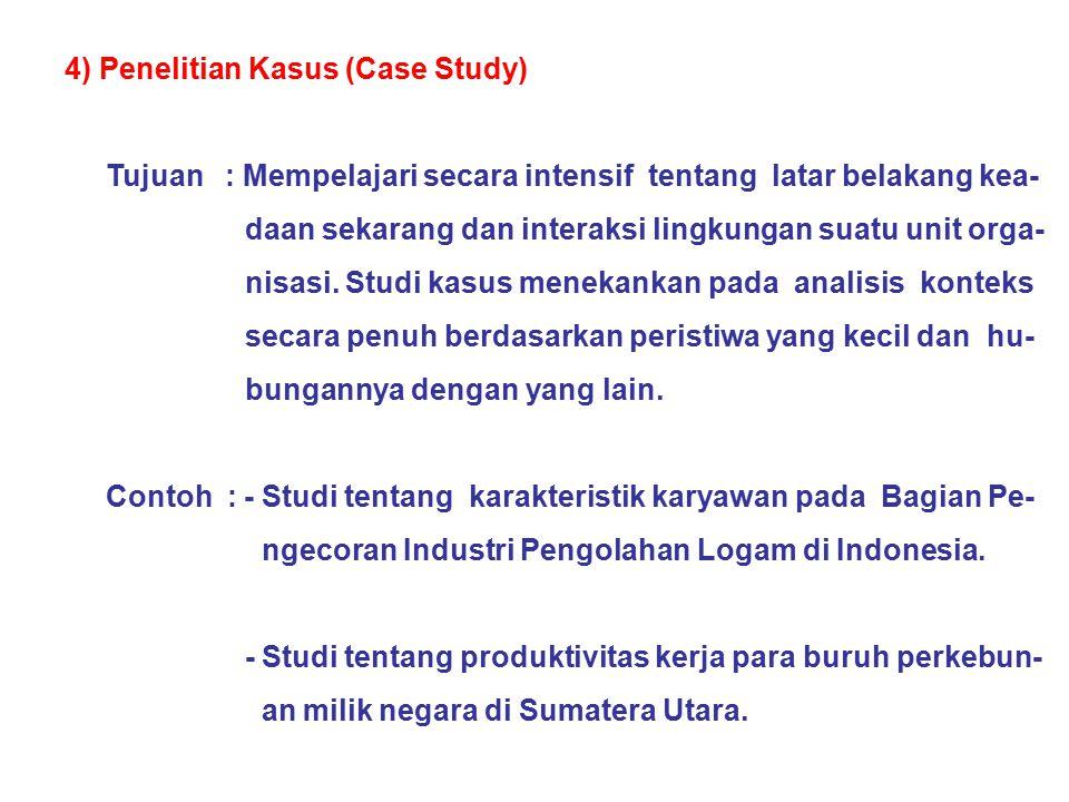 4) Penelitian Kasus (Case Study)