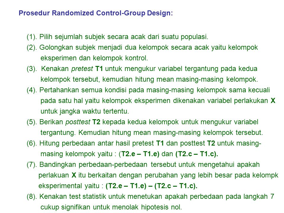 Prosedur Randomized Control-Group Design: