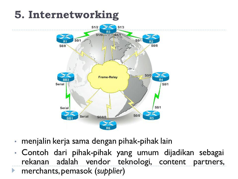 5. Internetworking menjalin kerja sama dengan pihak-pihak lain