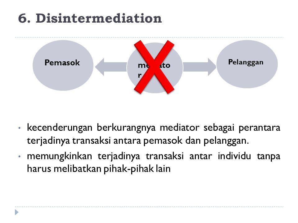 6. Disintermediation Pemasok. Pelanggan. mediator.