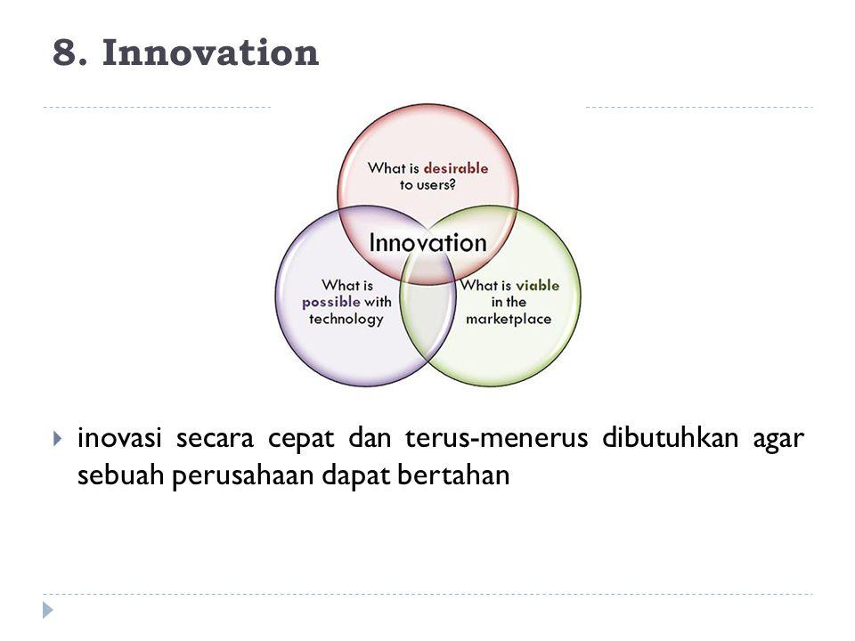 8. Innovation inovasi secara cepat dan terus-menerus dibutuhkan agar sebuah perusahaan dapat bertahan.