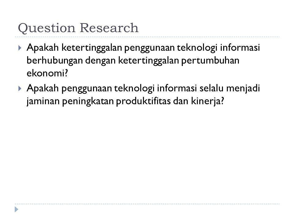 Question Research Apakah ketertinggalan penggunaan teknologi informasi berhubungan dengan ketertinggalan pertumbuhan ekonomi