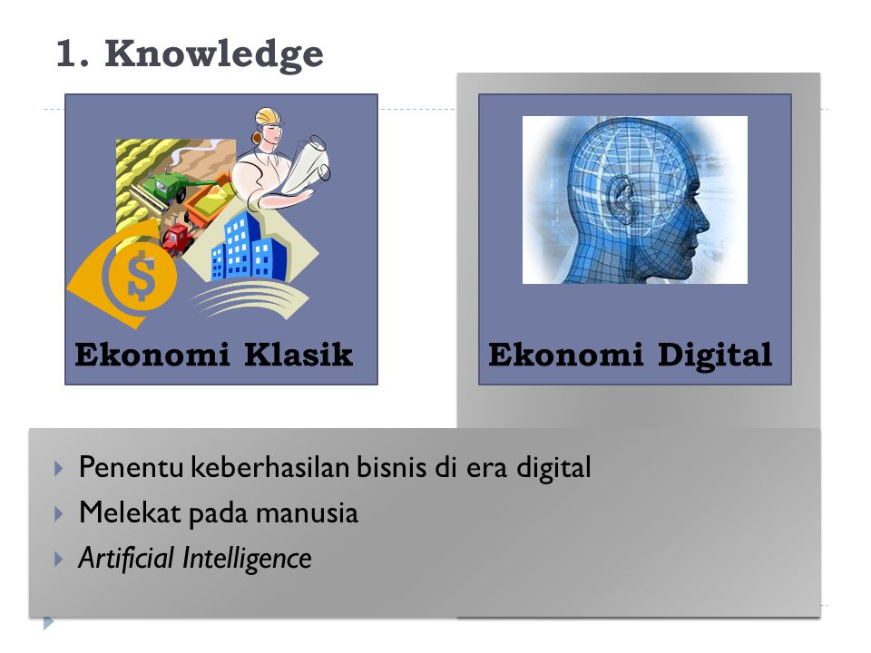 1. Knowledge Ekonomi Klasik Ekonomi Digital