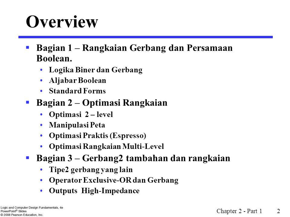 Overview Bagian 1 – Rangkaian Gerbang dan Persamaan Boolean.