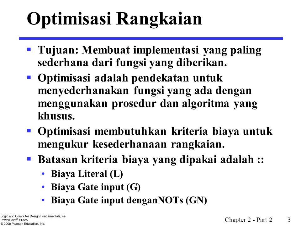 Optimisasi Rangkaian Tujuan: Membuat implementasi yang paling sederhana dari fungsi yang diberikan.