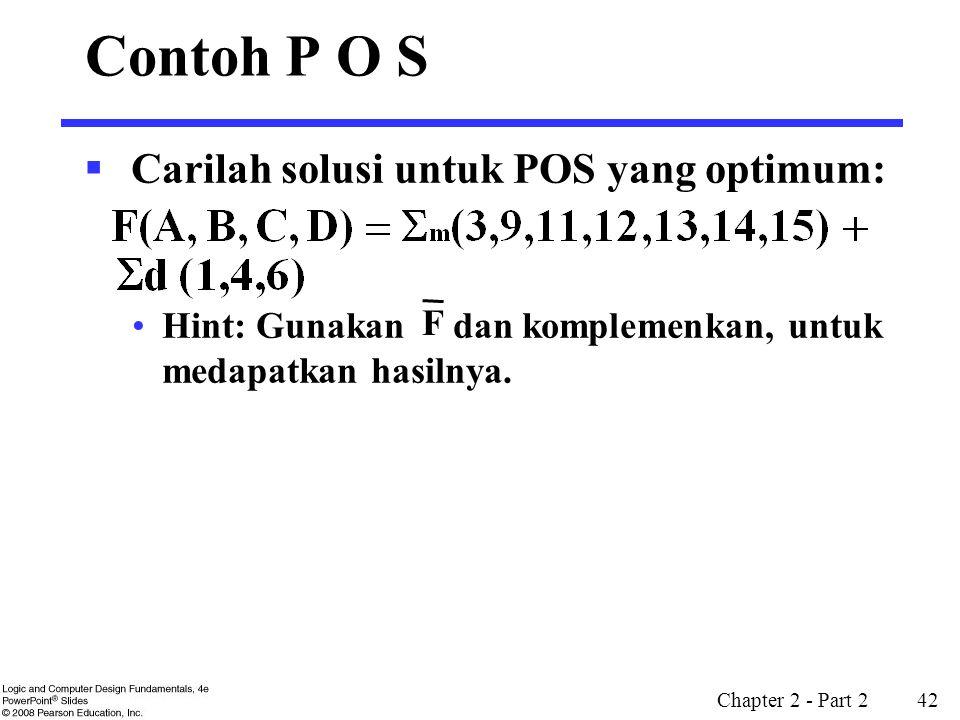 Contoh P O S Carilah solusi untuk POS yang optimum: