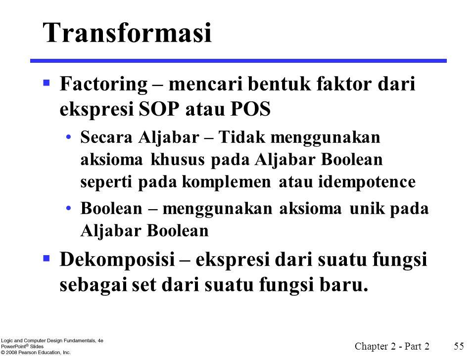 Transformasi Factoring – mencari bentuk faktor dari ekspresi SOP atau POS.