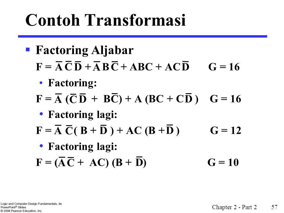 Contoh Transformasi Factoring Aljabar F = + B + ABC + AC G = 16