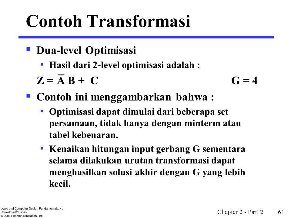 Contoh Transformasi Dua-level Optimisasi Z = B + C G = 4