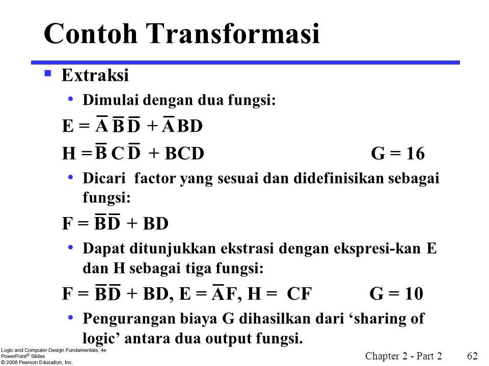 Contoh Transformasi Extraksi E = + BD H = C + BCD G = 16 F = + BD