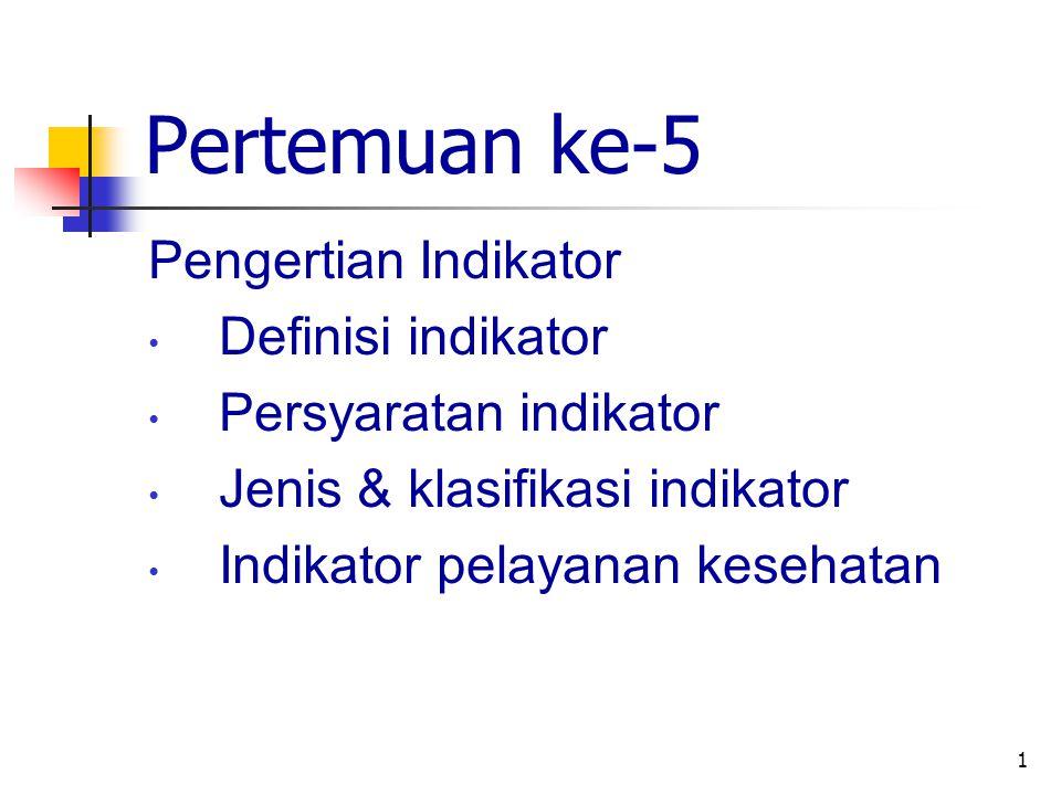 Pertemuan ke-5 Pengertian Indikator Definisi indikator