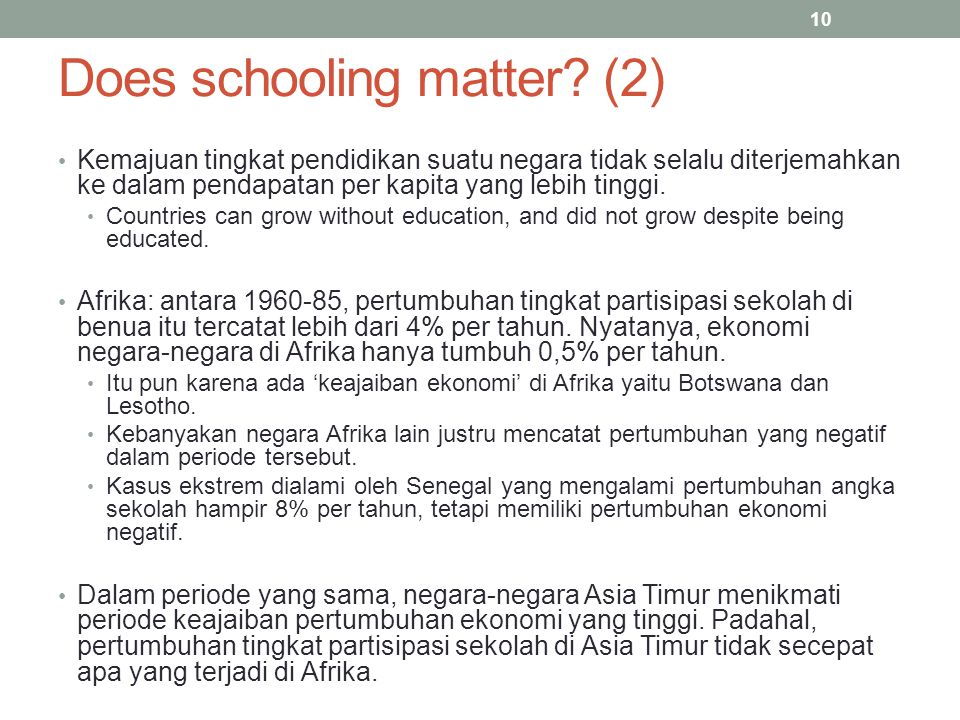 Does schooling matter (2)