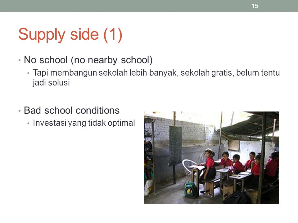 Supply side (1) No school (no nearby school) Bad school conditions