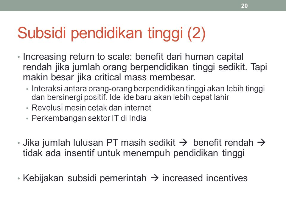 Subsidi pendidikan tinggi (2)