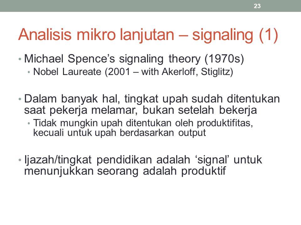 Analisis mikro lanjutan – signaling (1)