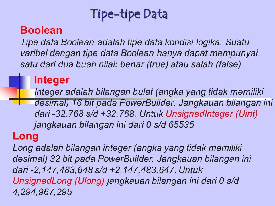 Tipe-tipe Data Boolean Integer Long