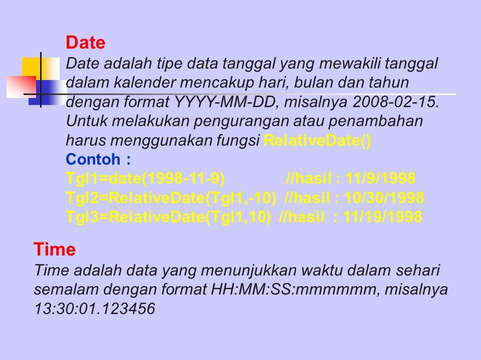 Date Date adalah tipe data tanggal yang mewakili tanggal dalam kalender mencakup hari, bulan dan tahun dengan format YYYY-MM-DD, misalnya 2008-02-15.