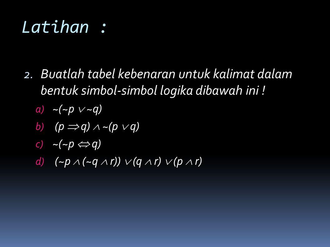 Latihan : Buatlah tabel kebenaran untuk kalimat dalam bentuk simbol-simbol logika dibawah ini ! ~(~p  ~q)