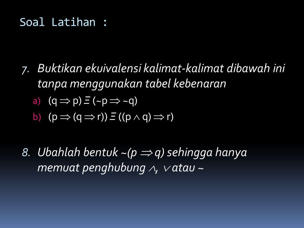 Ubahlah bentuk ~(p  q) sehingga hanya memuat penghubung ,  atau ~