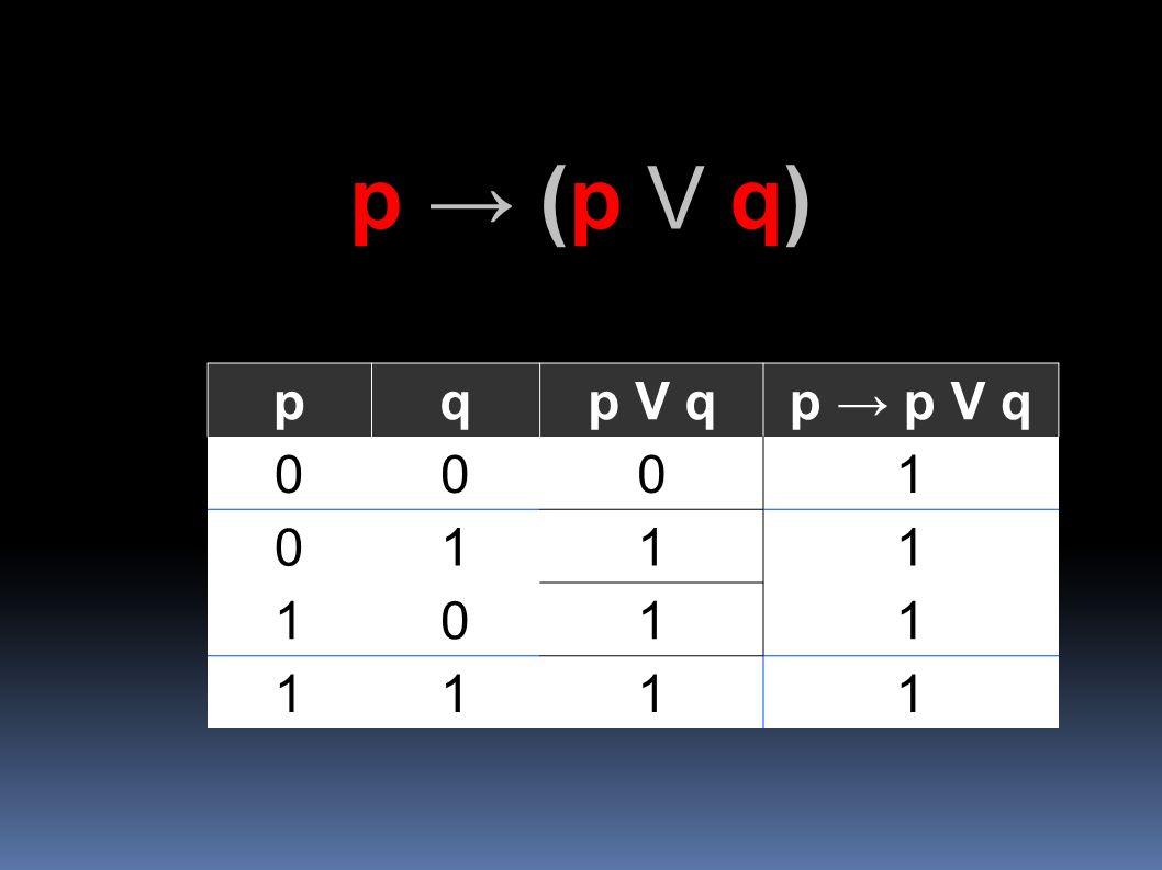 p → (p V q) p q p V q p → p V q 1