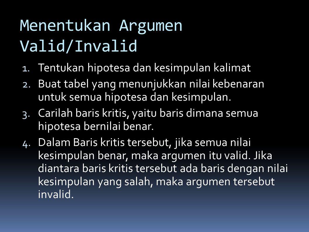 Menentukan Argumen Valid/Invalid