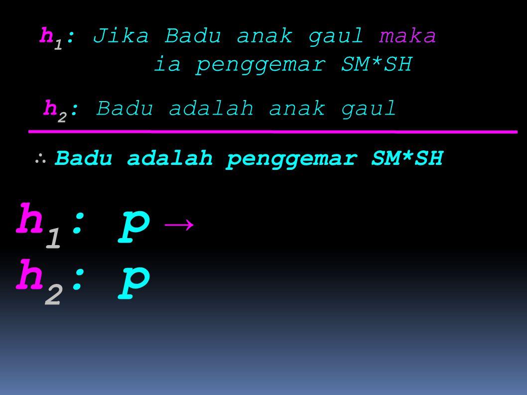 h1: p h2: p → h1: Jika Badu anak gaul maka ia penggemar SM*SH