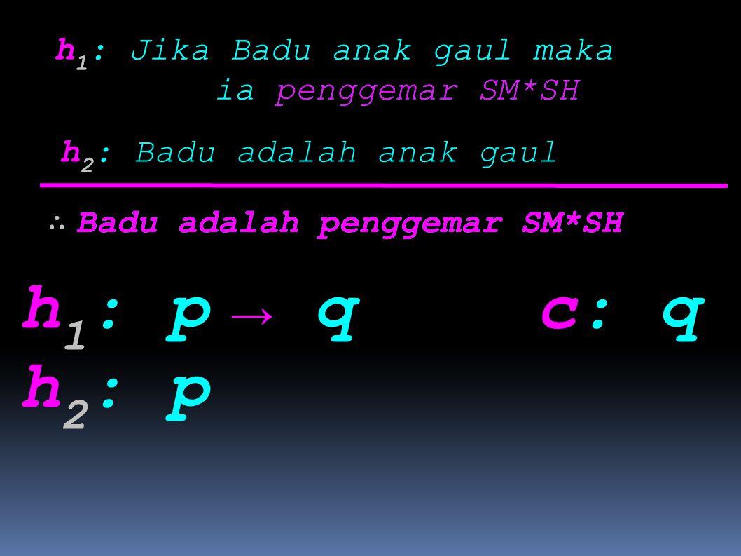h1: p h2: p → q c: q h1: Jika Badu anak gaul maka ia penggemar SM*SH