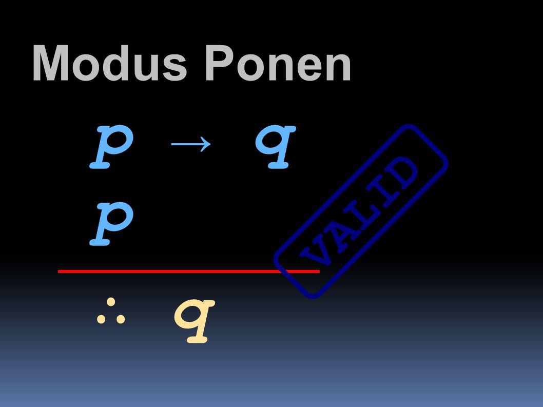 Modus Ponen p → q p VALID ∴ q