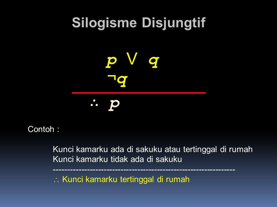 p V q ¬q ∴ p Silogisme Disjungtif Contoh :