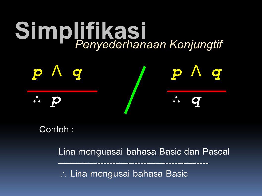 Simplifikasi p Λ q p Λ q ∴ p ∴ q Penyederhanaan Konjungtif Contoh :