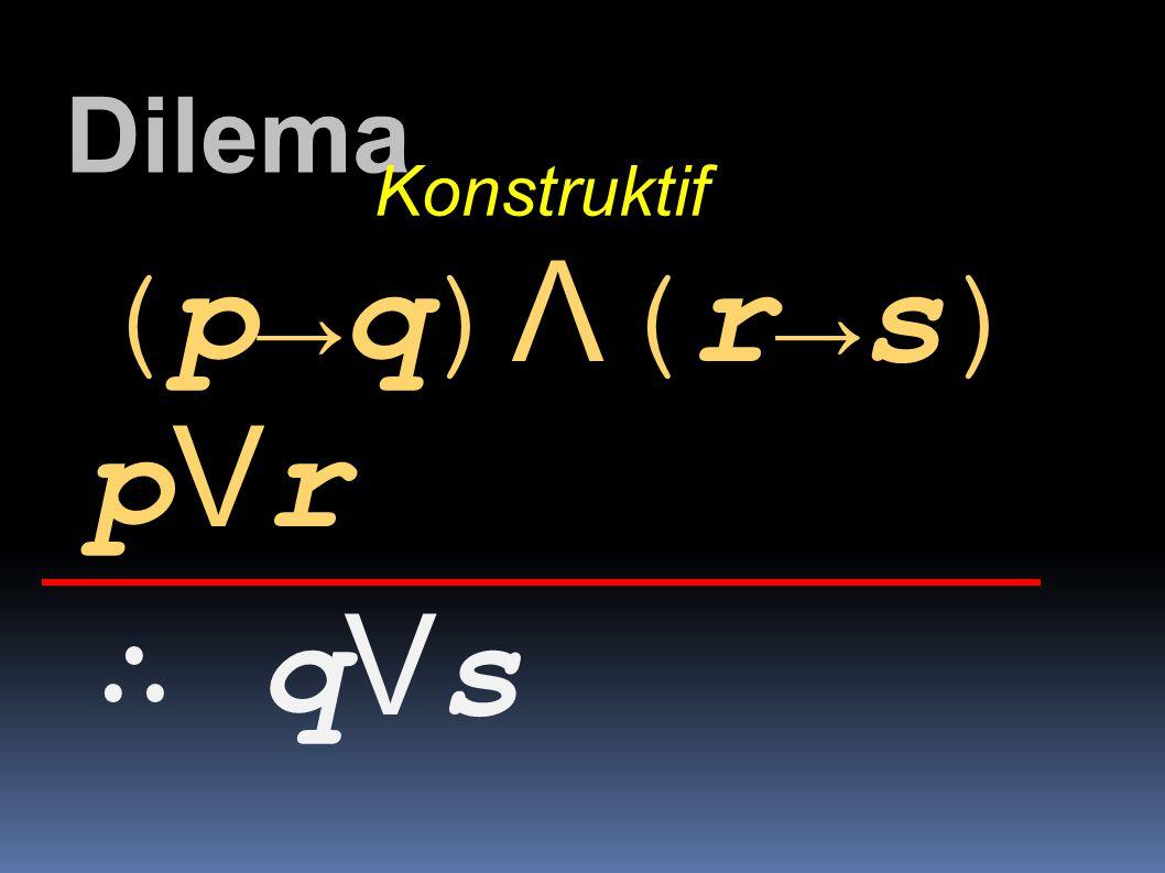 Dilema Konstruktif (p→q)Λ(r→s) pVr ∴ qVs