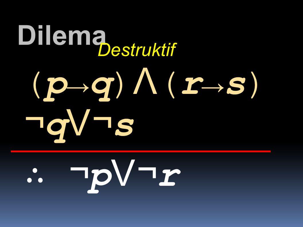 Dilema Destruktif (p→q)Λ(r→s) ¬qV¬s ∴ ¬pV¬r